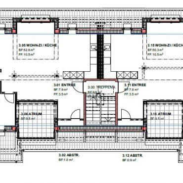 Dachstockausbau, Fassaden- und Bädersanierung MFH 6